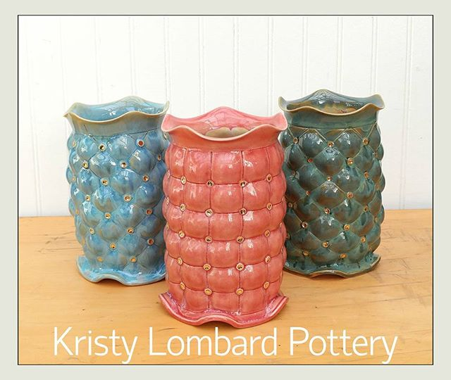 Quilted vases after glaze and gold luster! They'll be debuting tonight at Art in the Burbs! #kristyl