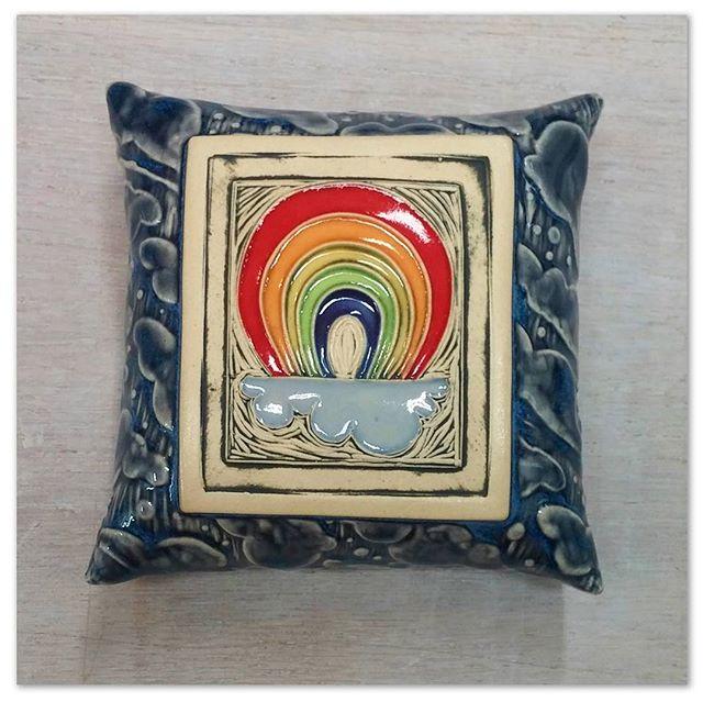 New little rainbow pillow that I'll be debuting _portlandsaturdaymarket tomorrow