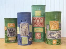 Vases!_#kristylombardpottery #linocut #contemporaryceramics #vase #portlandoregon