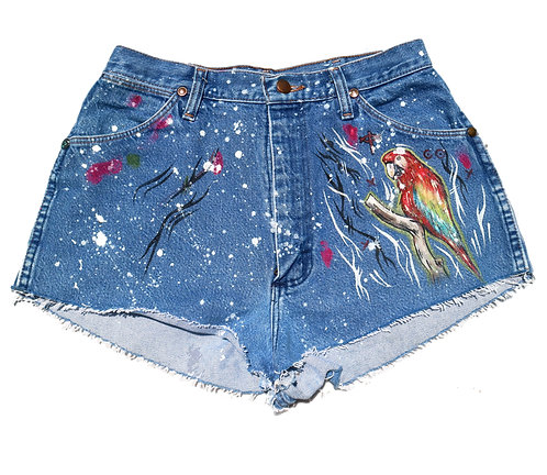 Parrot/Heart cropped Wrangler booty shorts, size 25/26