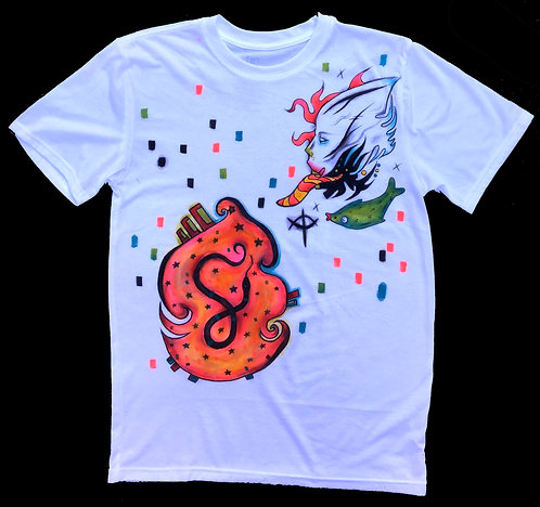 Snake Stomach / Fish Tongue - Handpainted shirt - size Small