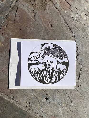 """""""St. Miguel & the dragon (Protection)"""" Card with envelope"""