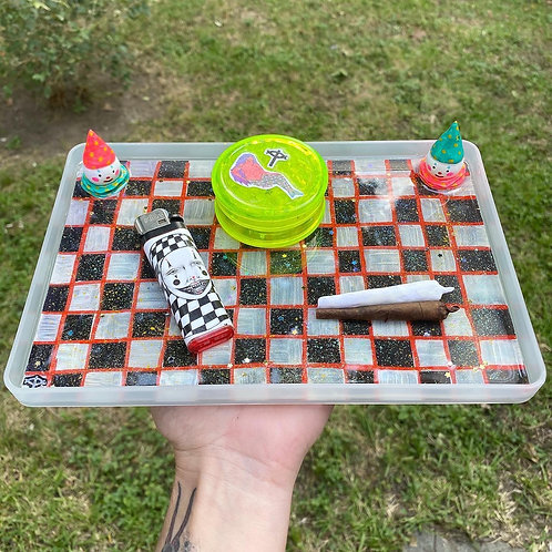 Two trickster characters on a checkered board - rolling/trinket tray