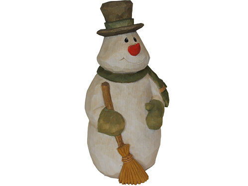 Plump Snowman with Broom