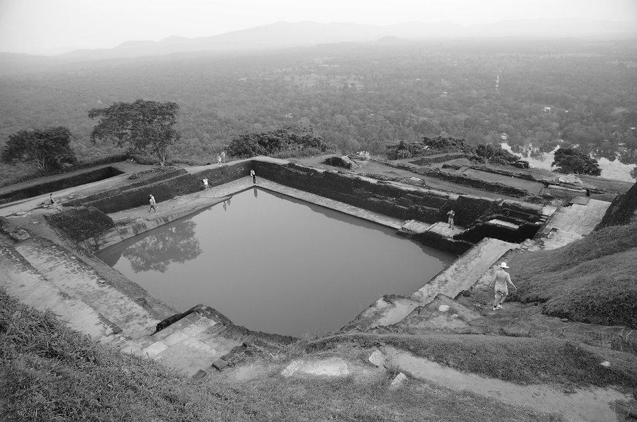 Water reservoir on top of the palace of Sigiriya.  WATERSHED- Inhabitable water infrastructure. Raphael fogel