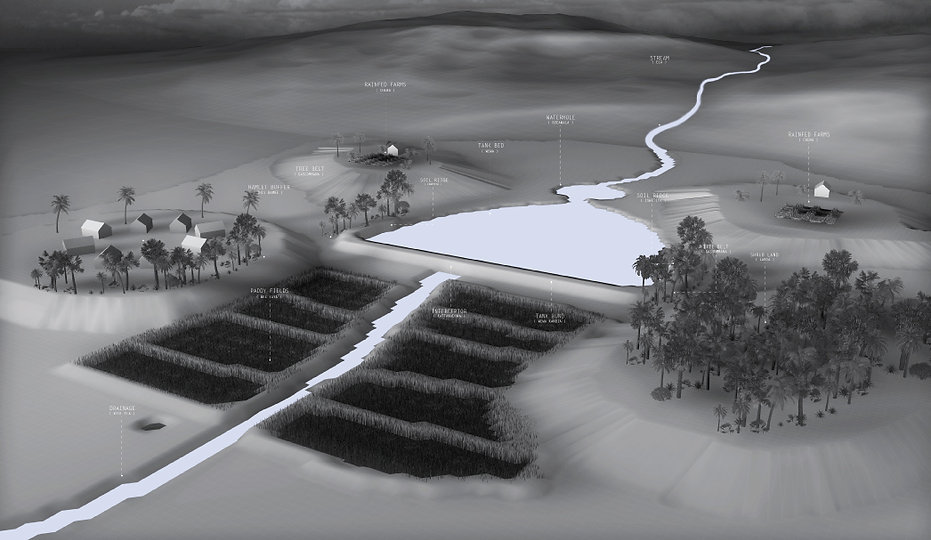 Village tank and associated landscape structuring.  WATERSHED- Inhabitable water infrastructure. Raphael fogel