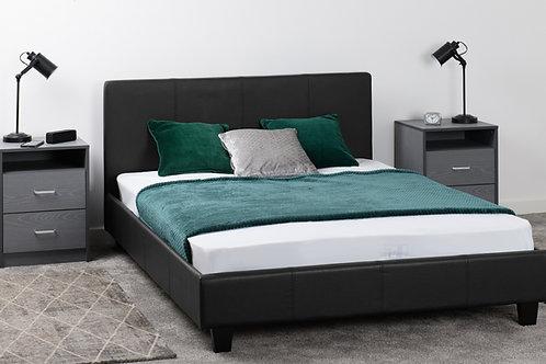 Prado Bed in Black Faux Leather