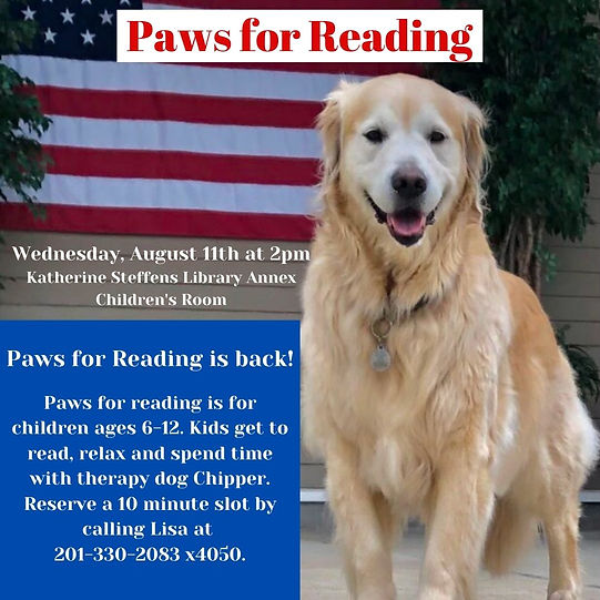 Paws for reading is for children ages 6-12 who want to practice their reading skills. Kids