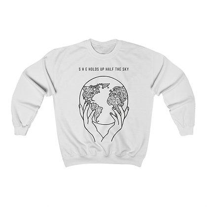 """S H E Holds Up Half the Sky"" Unisex Crewneck Sweatshirt"