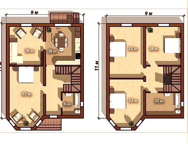 Дом 2 этажный 9*11