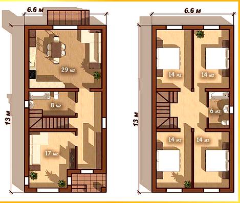 дом 2 этажный 6,6*13