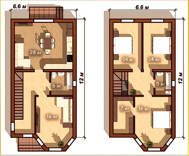 """Дом 2 этажный 6,6*12 """"Малый эркер"""""""