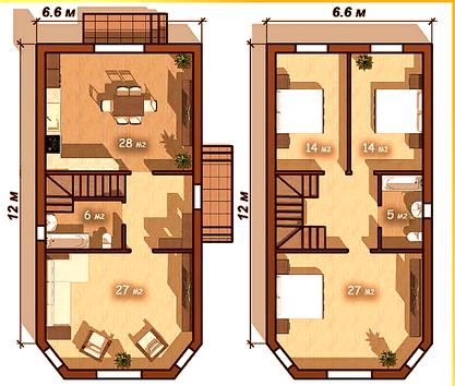 """Дом 2 этажный 6,6*12 """"Большой эркер"""""""