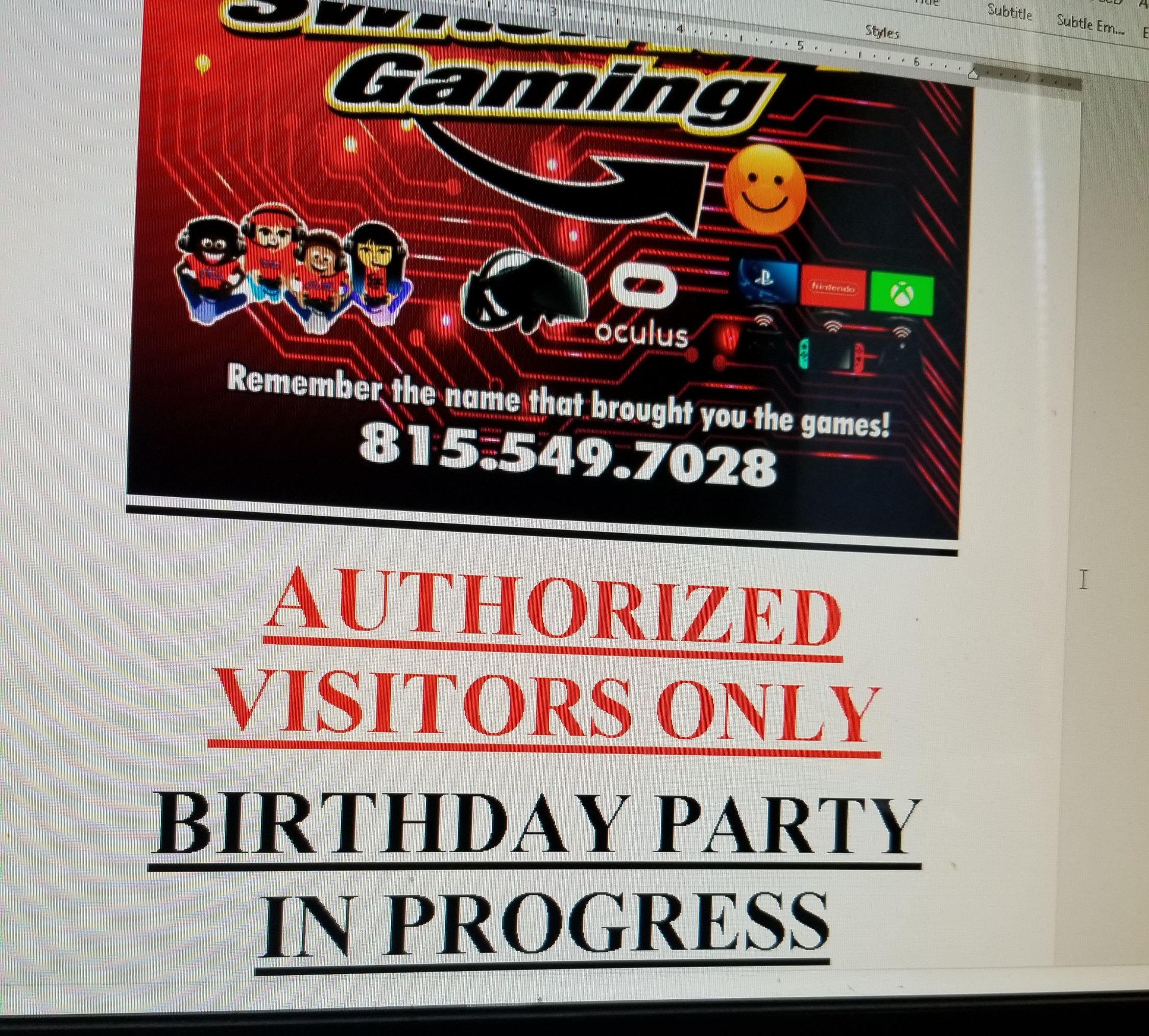 4 hour gaming lounge party