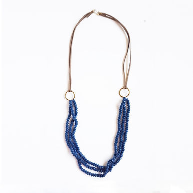 Recycled Paper 3 Strand Necklace - Galaxy Blue