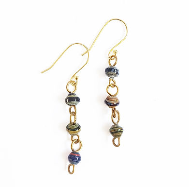Paper Bead Drop Earrings - Quarry