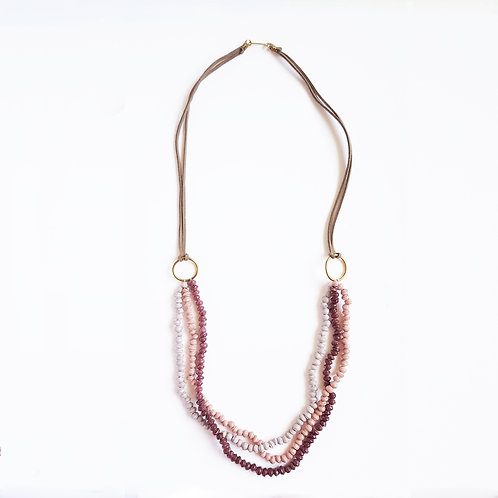 Recycled Paper 3 Strand Necklace - Berry Sorbet