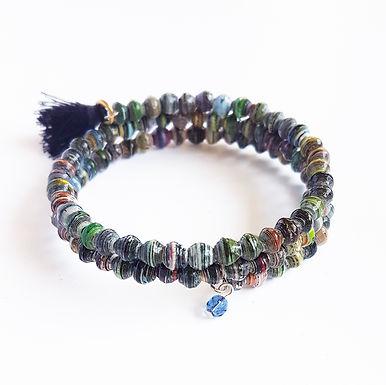 Recycled Paper Bead Tassel Bracelet -Quarry