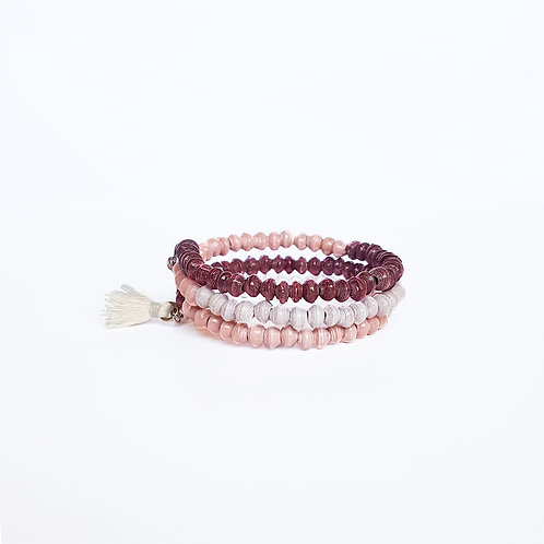 Recycled Paper Bead Tassel Bracelet -Berry Sorbet