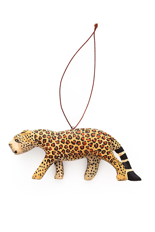 Hand-carved Leopard Ornament