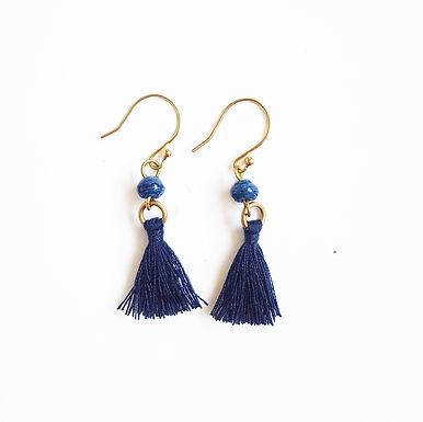 Recycled Paper Bead Tassel Earrings - Galaxy Blue