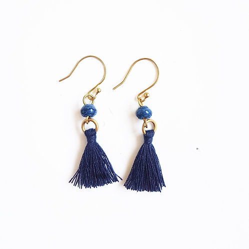 Recycled Paper Bead Tassel Earrings - Galaxy Blue