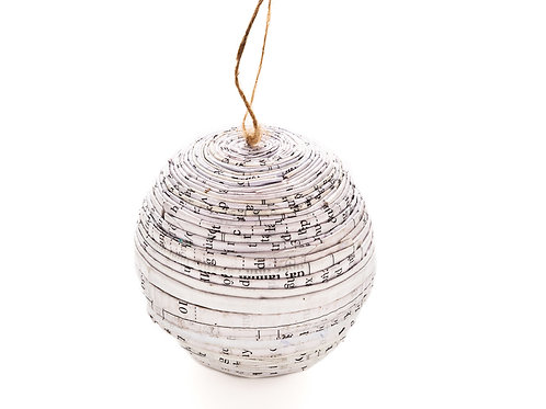 Recycled Paper Black & White Ball Ornament