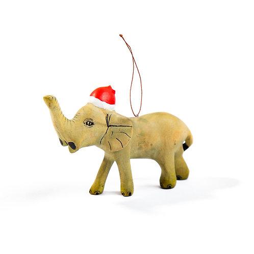 Santa's Little Elephant Hand- carved Ornament