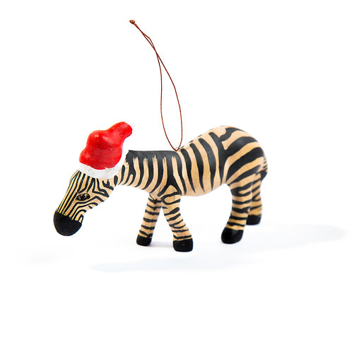 Santa's Little Zebra Hand- carved Ornament