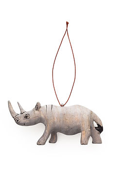 Hand-carved Rhino Ornament