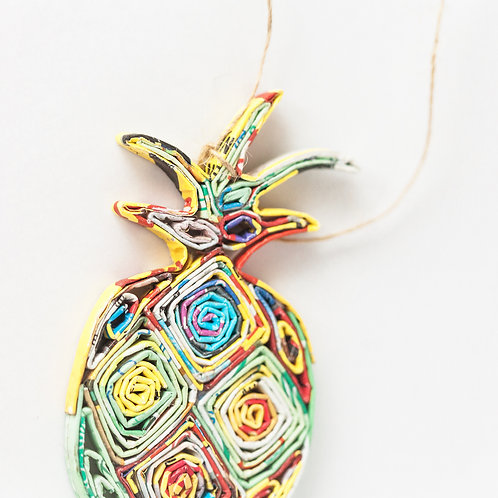 Recycled Paper Pineapple Ornament