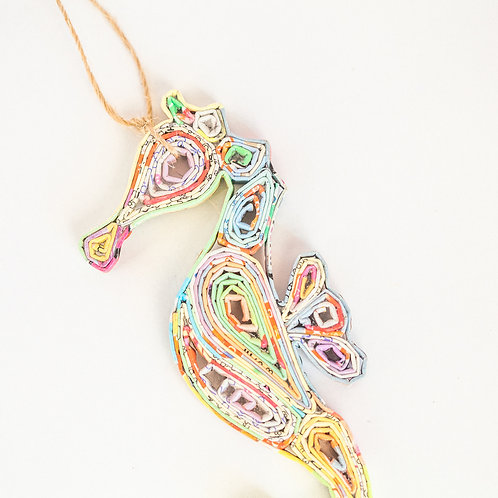 Recycled Paper Seahorse Ornament