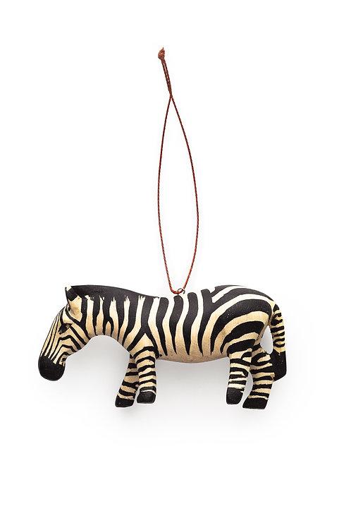 Hand-carved Zebra Ornament