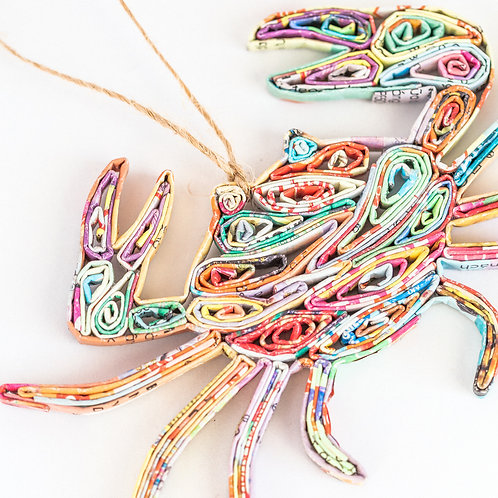 Recycled Paper Crab Ornament