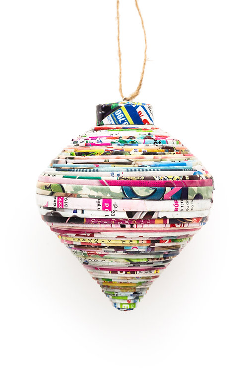 Recycled Paper Teardrop Ornament