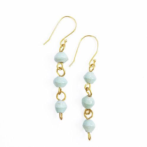 Paper Bead Drop Earrings - Sky Blue