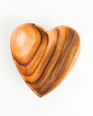 """Acacia Wood 10"""" Heart Bowl"""