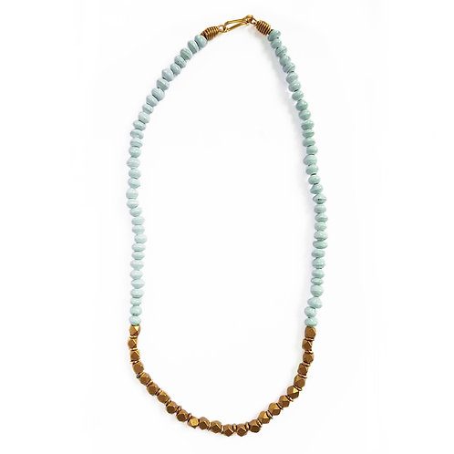 """Paper Bead 16"""" Halifax Necklace - Sky Blue"""