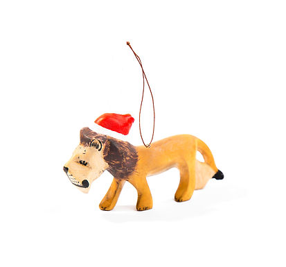 Santa's Little Lion Hand-carved Ornament
