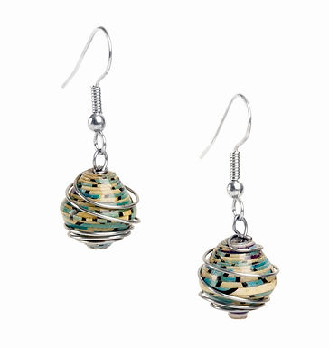 Wrapped Paper Bead Earrings