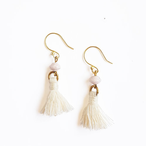 Recycled Paper Bead Tassel Earrings - Cream