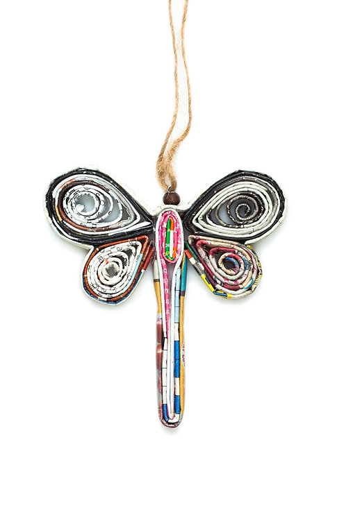Recycled Paper Dragonfly Ornament