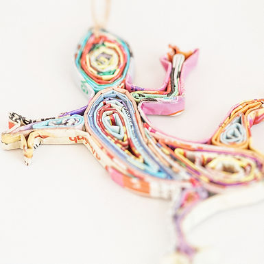 Recycled Paper Gecko Ornament