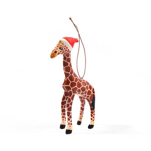 Santa's Little Giraffe Hand- carved Ornament