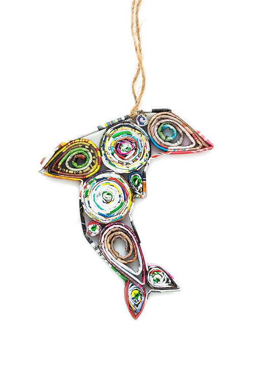 Recycled Paper Dolphin Ornament