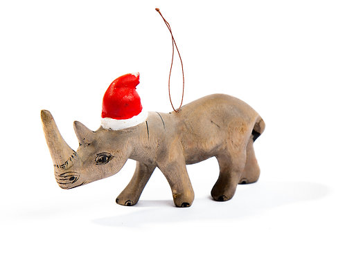 Santa's Little Rhino Hand- carved Ornament