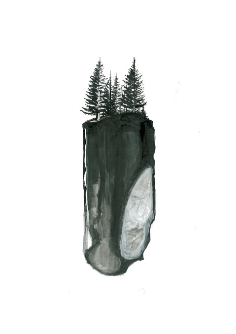 ink drawing into the woods 1