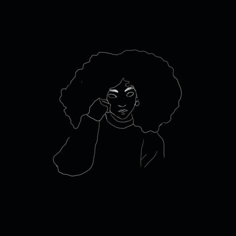 girl curly hair line sketch
