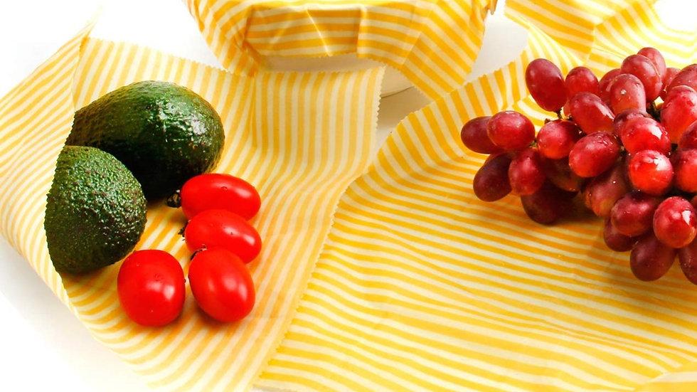 Yellow Stripe Reusable Beeswax Storage Wrap