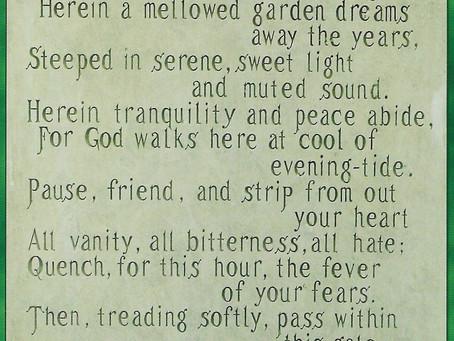 Inscription for a Garden Gate